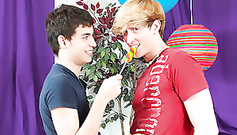 Young gay boyfriends are eating the candy and then going to fuck
