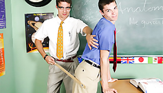 Young gay teacher is spanking sexy twink student boy